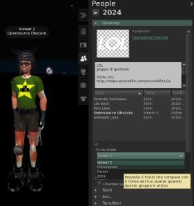 SL Viewer 2 - Finestra di informazioni sul gruppo
